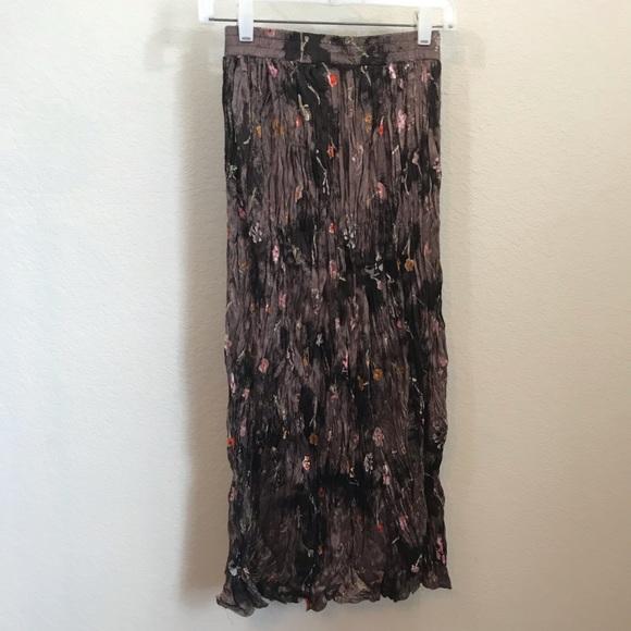 Clio Dresses & Skirts - Vintage Clio Broom Stick Skirt Sz S Brown Floral